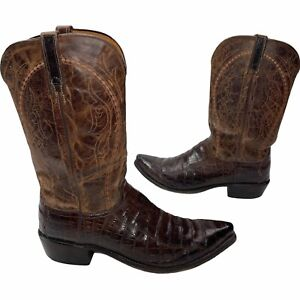 Lucchese Genuine Brown Belly Caiman Crocodile Style #N9496 54 13D