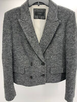 Ladies J. Crew Gray Wool Blend Blazer Jacket Double Breasted Buttons Size 14