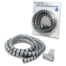 CABLE SPIRAL WRAPPING BAND 2,5m x 25mm FLEXIBLE CONDUITS TUBE GREY WITH TOOL