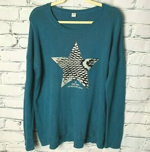 s.Oliver Women's Sweater Size 14 Blue Silver Black Star Crew Neck