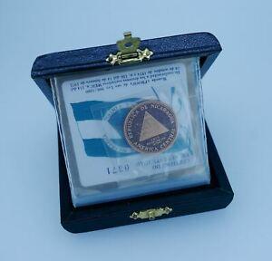 1975 Nicaragua Gold 1000 Cordobas in Orig Box w/COA (#0371) - Free Shipping USA