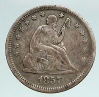 1857 UNITED STATES US Silver SEATED LIBERTY Quarter Dollar Coin w EAGLE i90922