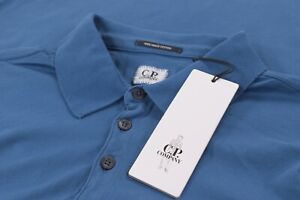 C.P. Company CP NWT Polo Shirt Short Sleeve Size L In Solid Blue Mako Cotton
