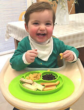 Baby Placemat Silicone Non Slip Oval Green Three Food Section Plate UK Seller