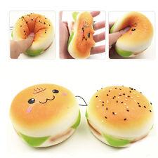10CM Cartoon Sesame Squishy Hamburger Cell Phone Straps Bread Soft Bun Charms