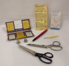 LOT OF VINTAGE SEWING SUPPLIES Tools Wiss Pinking Shears Curved Needles SoRite