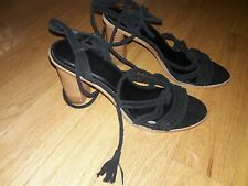 Joie Banji Block Heel Dress Sandal Black Suede, Size 11