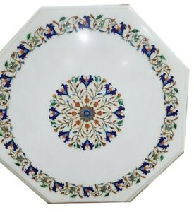 "24"" marble coffee Table Top Pietra Dura Inlay art Handmade Work Home Decor"