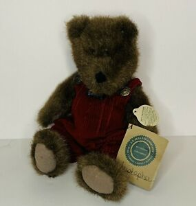 Boyds Bears Christopher 10 inch Plush Brown Bear Jointed Red Bearwear Overalls