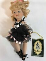 "Geppeddo 7"" Porcelain Doll 06C034 Ballerina in a Black Dress with White Flowers"