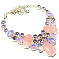 925 Natural Rose Quartz,Pink Tourmaline Handmade Ethnic Style Jewelry Necklace18
