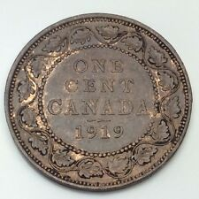 1919 Canada Copper 1 One Large Cent Penny Circulated Canadian Coin D351