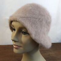 Vintage Soft Fur Beige Cloche Bucket Style Hat (CH18)