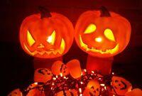Lot Vintage Halloween Jack O Lanterns Pumpkins & String of Lights