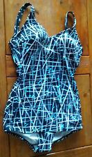 Black White & Blue Print Padded  Control Skirtini  / skirt Swimsuit    sz 14