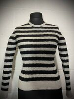 Superdry Ladies Grey/ Black Striped Jumper Cashmere Blend Size Small Womens