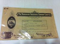 RARE YORKSHIRE INSURANCE CO LTD PICTORIAL RECEIPT REVENUE STAMP 1933