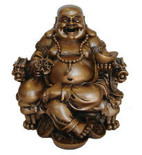 """6.5"""" Golden Chinese Buddha Statue on Dragon Chair"""
