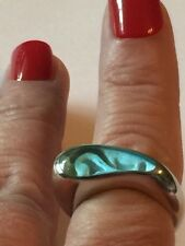 Powder Blue Glass Ring Size 8 925 Sterling Silver East West Inset Design