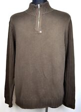 POLO Ralph Lauren Men's 2XL Jumper 100% Cotton Brown Sweater Zip Neck Pullover