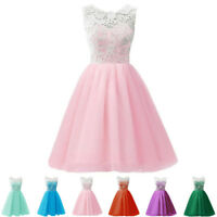 Girls Floral Cute Kids Summer Formal Lace Party Dresses Age 7-13 Years Wedding