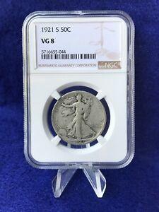 "1921-S WALKING LIBERTY HALF DOLLAR 50c ""SEMI-KEY COIN"" *NGC VG 8 VERY GOOD*"