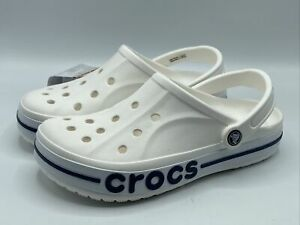 Crocs Women's Size 10 Bayaband Clog, White & Navy Blue New with Tags! 205089-126