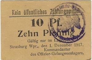 POW NOTE GERMANY--STRASSBURG WPR-  1 DEZEMBER 1917 - 10 PF //837