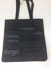 "Longaberger Black Logo Shopping Tote Bag 15"" x 15"" NIB"