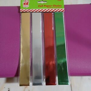 100 Coloured Foil Paper Chain  Christmas Decorations Self adhering no glue