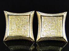 10K Yellow Gold Canary Diamond XL Kite Pave Shape Stud Earrings
