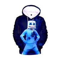 Kids Teens 3D Print Nylon sports hoodie top DJ Marshmallow Fortnite Navy 5-18yrs