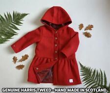 Harris Tweed red kids Childrens hooded Handmade Coat Girl Age 3 Christmas winter