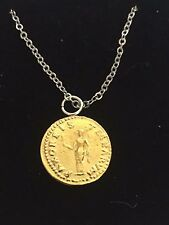 """Aureus Of Otho Coin WC66 Gold Pewter On a 20"""" Silver Plated Chain Necklace"""