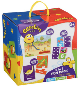 CBEEBIES 3 IN 1 FUN PACK - 35-0039/19 BBC JIGSAW PUZZLE, DOMINOES, PAIRS CARDS