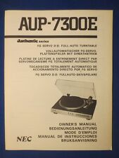 New listing Nec Aup-7300E Authentic Turntable Owners Manual Factory Original The Real Thing