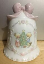 "Precious Moments 4.5"" Por 00004000 celain Bell 1997 Christmas Pink Bow Handle, Mint no box"