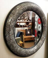 Round Crackle Bow Raised Design Wall Mirror Black Frame Silver Mosaic Glass 80cm