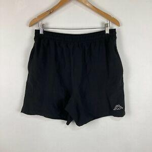 Kappa Mens Shorts Size L Large Black Elastic Waist Zip Pockets