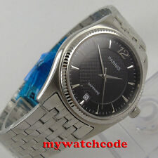 big sale 38mm parnis black dial sapphire glass date window quartz mens watch