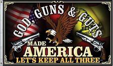 God Guns and Guts Made America 3x5 Flag Gun Rights