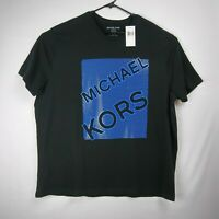 MICHAEL KORS Spell Out T-Shirt Black Blue Men's Size 2XL Retail $59.50