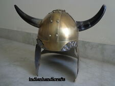 Reproduction Viking Barbarian Warrior Helmet Medieval With Horns Brass Finish