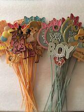 Vintage Florists Floral Arrangement Picks Baby Boy / Girl lot of 47 Basket Picks