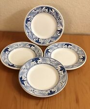 Hand Painted White & Blue  Ceramic Salad Plates Set of 4 MADE IN ITALY.