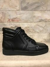 NIB Christian Louboutin Sporty Dude Low Flat Black Spike High Sneaker 39.5 $1150