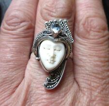SILBERRING 925 FACE BONE Balinesische Gottheit Carving Zierstein Handarbeit Bali