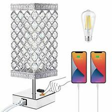 Touch Control Bedside Lamps, Crystal Table Lamp with USB...