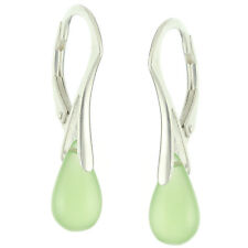 925 Sterling Silver Natural Teardrop Prehnite Chalcedony Leverback Earrings