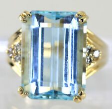 Diamond blue topaz ring 14K yellow gold round brilliant emerald cut 18.51C sz9.5